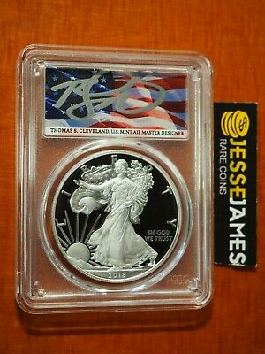 2018 S Proof Silver Eagle Pcgs Pr70 Flag Cleveland First Day Of Issue Fdi Pop 10