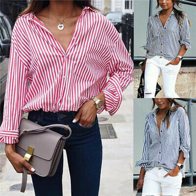 Womens Loose Striped Blouse Tunic Shirts Tops Button Down V Neck Ladies T Shirt