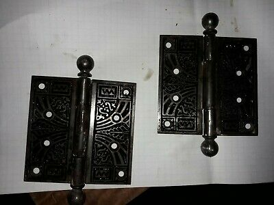 "Matching Pair of Antique Victorian Eastlake Hinges 4"" Cast Iron"