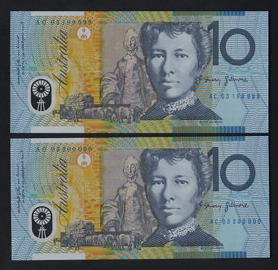 R-320b. (2003) $10 - MacFarlane/Henry.. CONSEC Pair of Partial SOLID Numbers UNC
