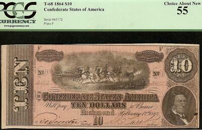 1864 $10 Dollar Bill Confederate States Currency Civil War Note Money Pcgs 55