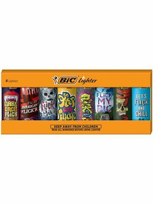 New BIC Special Edition Flick My BIC Series Lighters Set of 8 Lighters
