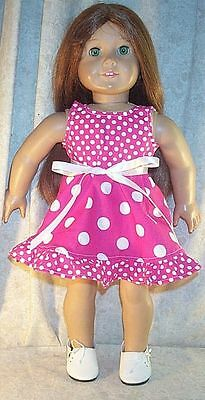 Doll Clothes Made 2 Fit American Girl 18 inch Summer Dress Pink White Dots