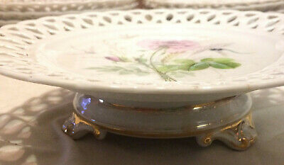Very Nice Vintage French Hand Painted China Pedestal Compote- Floral & Dragonfly