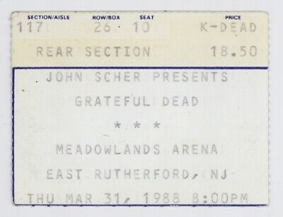 Grateful Dead 3/31/88 E Rutherford NJ Meadowlands Arena Concert Ticket Stub!