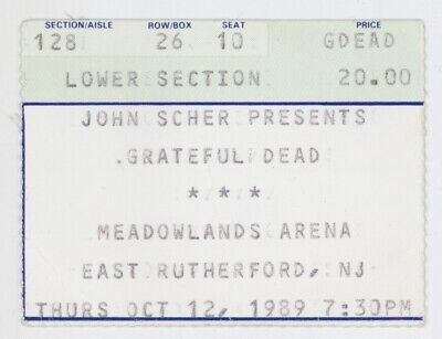 Grateful Dead 10/12/89 E Rutherford NJ Meadowlands Arena Concert Ticket Stub!