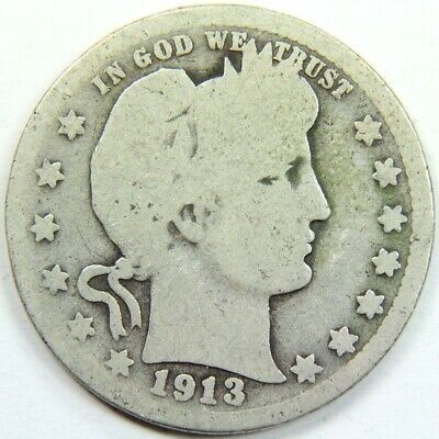 Better Date 1913 Barber Quarter 90 % Silver - Exact Coin Shown 5702