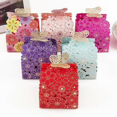 10X Butterfly Love Heart Favor Gift Box Candy Cake Boxes Wedding Party Decor DP