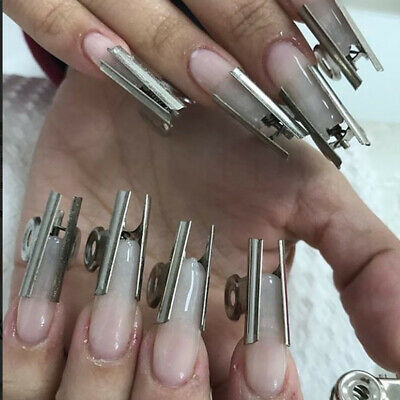 6Pcs C Curve Nail Pinching for Nails Tips Extended Stainless Steel Acrylic Tool