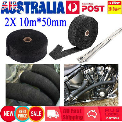 2X 1022F Exhaust Heat Wrap 10mX50mm+20 Stainless Stell Cable Ties Heat Resistant