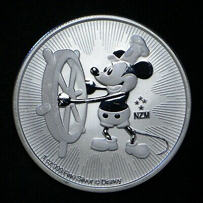 2017 Niue Mickey Mouse Steamboat Willie 1-oz .999 Silver  Light Scratches Obv