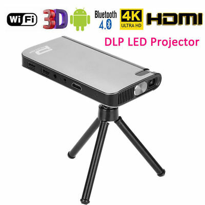 4K 1080P DLP Mini LED Projector Home Theater Android Bluetooth WiFi 8G HDMI USB