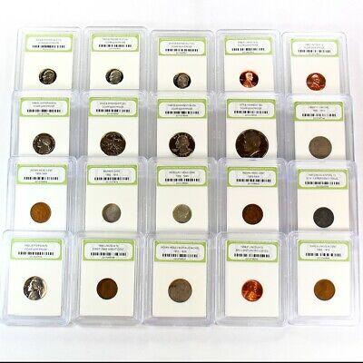 Estate Lot of 20 Slabbed US Coins Includes 90% Silver, Type and Proof Coins - 1a