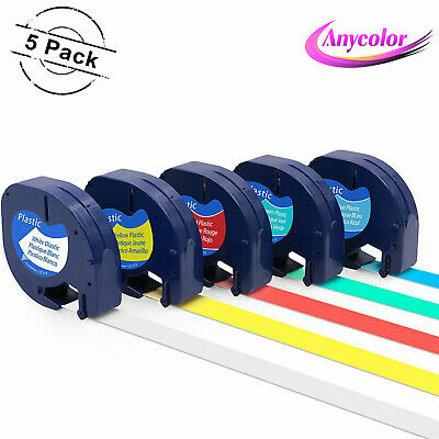 5PK Replacement Dymo Plastic Letratag Label Tape (White/Yellow/Red/Blue/Green)