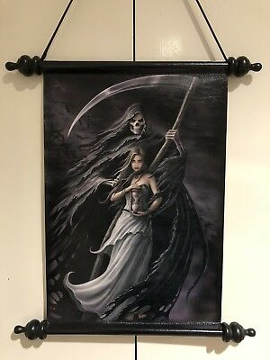 """Anne Stokes Scroll Wall Hanging """"Summon The Reaper"""" Gothic Fairy, Fantasy"""