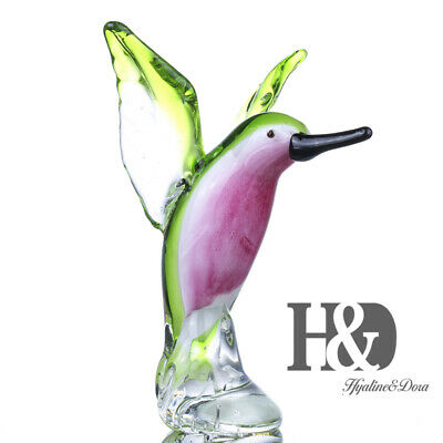 Handcraft Hummingbird Glass Blown Animal Figurine Office Table Collection Gifts