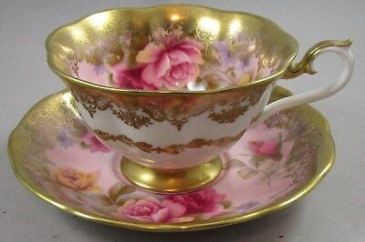 Vintage Royal Albert Pink Cabbage Roses and Heavy Gold Cup and Saucer - Teacup