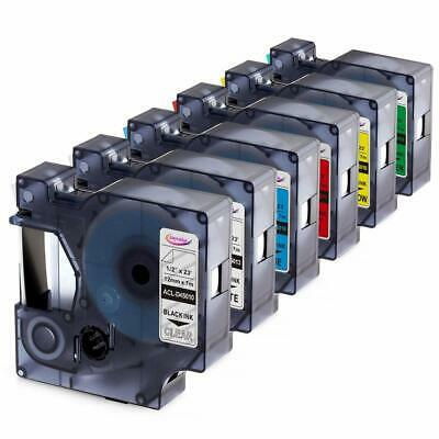 6PK Compatible DYMO D1 Label Tapes Multicolor for DYMO LabelManager 160 280 420P
