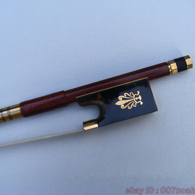 TOP Model Pernambuco Violin Bow Golden Mounted Natural Frog Peafowl 4/4 Bows
