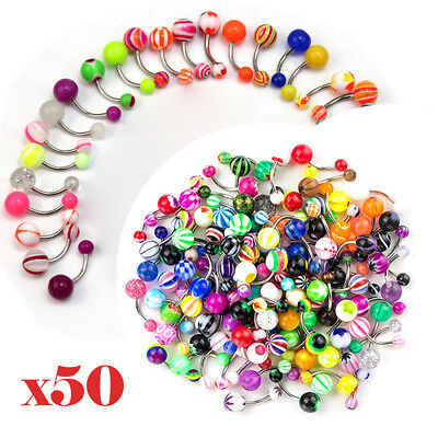 50Pcs Belly Button Navel Ring Bar Bars Body Piercing Jewellery Rings Makeup