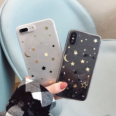 UK Shockproof Bling Clear Phone Case Cover Novetly Soft TPU Fitted Case 520