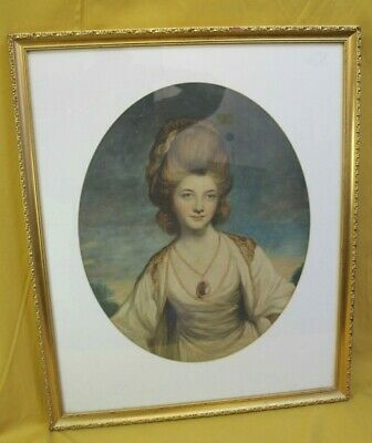 Large Antique 19th Century Lady Oval  Early Print 70x58cm Framed (Hospiscare)