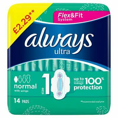 Always Normal Ultra (Size 1) Sanitary Towels Wings 14 x 4 (56 Pads) 184676