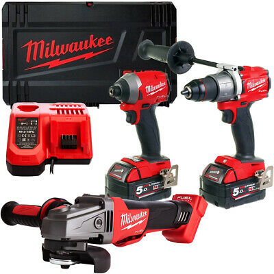 Milwaukee 3 Piece 18V Li-ion Kit With 2 x 5.0Ah Batteries Charger & Case