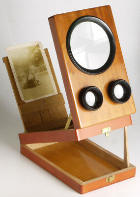 antique wooden Graphoscope stereo & mono viewer + 9x12cm positive_3D photography