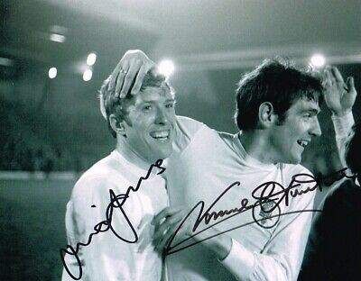 Mick Jones Norman Hunter Leeds United Authentic Dual Signed 10 X 8 Inch With Coa