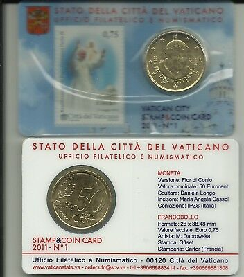 2011.Vaticano.Stamp Coin Card N° 1.Beatificazione Papa Giovanni Paolo II+50 cent