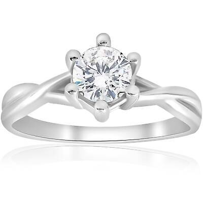 3/4ct Twist Solitaire Round Brilliant Cut Diamond Engagement Ring 14K White Gold
