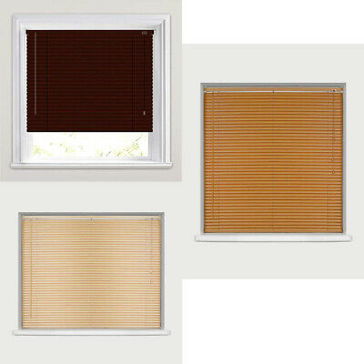 Easy Fit Windows Venetian Blinds Wood Grain Effect All Sizes For Home Office