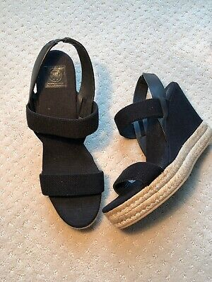 ac7895671 Tory Burch Two Band Wedge~ Size 9~ Slingback Espadrille Sandal Shoe Black~  Mint