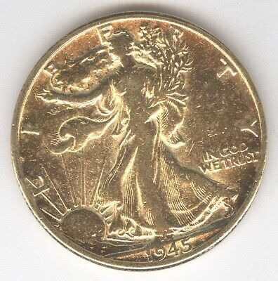 1945 Walking Liberty Silver Half Dollar + Gold-Plated + 90% Silver + No Reserve!