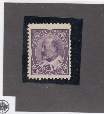CANADA # 95 VF-MNG 50cts 1908 KING EDWARD VII/ PURPLE CAT VALUE $1500