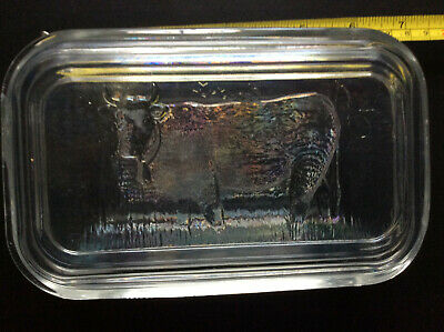 GLASS BUTTER DISH; COW;  6 X 3 INCH *b