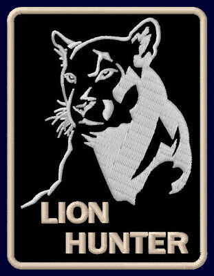 """LION HUNTER EMBROIDERED PATCH ~3-3/8"""" x 2-1/2"""" COUGAR ANIMAL OUTDOOR PUMA WILD"""