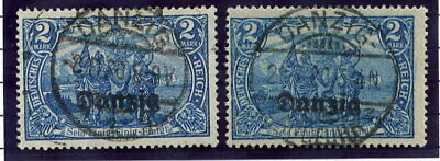 DANZIG 1920  Overprints on Deutsches Reich 2 Mark in two shades. postally used