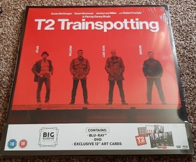 """T2 Trainspotting - Big Sleeve Edition Blu Ray & DVD Exclusive 12"""" ART CARD NEW"""