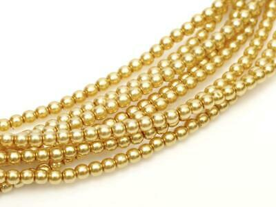 Antique Gold Czech Round Glass Pearl Strands - 2mm,3mm,4mm & 6mm Sizes