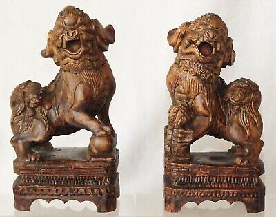 Fo Dogs~Chinese ~ Antique/vintage ~  Carved Wood ~ Loose Balls In Mouths