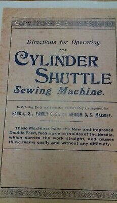 Jones Cs Brother Cylinder Hand Sewing Sewing Machine  Instruction Manual