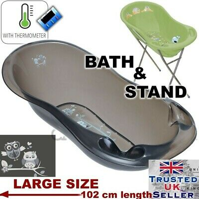 OWLS LUX Large Baby Bath baby Tub with Stand + thermometer 102 cm BLACK COLOUR
