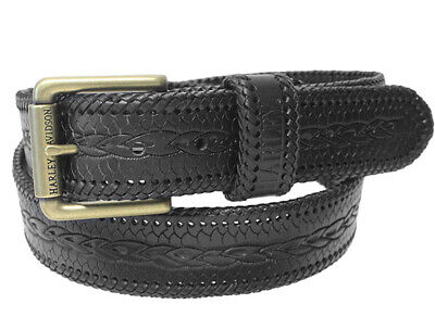 Harley-Davidson Mens Gravel Tooled Black Woven Braided Leather Belt by LODIS