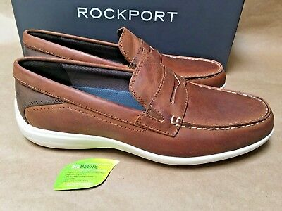 f067aa5aeb4 NEW Rockport Aiden Penny Loafers Mens Leather Shoes Tan Havane