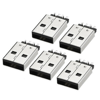 PCB USB Connector Type-A 2.0 Male Jack 180 Degree SMT SMD 5Pcs