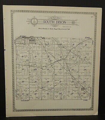 Illinois Lee County Map South Dixon or Marion Townships 1921 Double Side J25#57