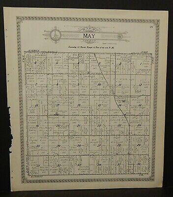 Illinois Lee County Map May or Bradford Townships 1921 Double Side J25#59