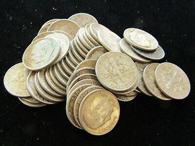 (1) Roll $5 (50 Coins) Roosevelt Dime 90% Silver Dimes, Mixed Dates - Item# 9076